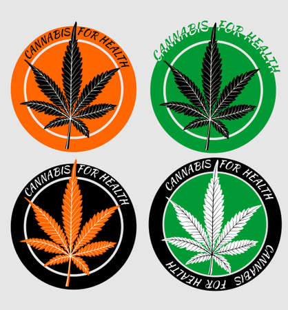 Set of four cannabis stickers for health. Circular stickers in orange and green design with silhouette of leaf of hemp intended for products with medicinal substances of hemp, cannabis ointment, hemp tincture, Zdjęcie Seryjne - 161908235