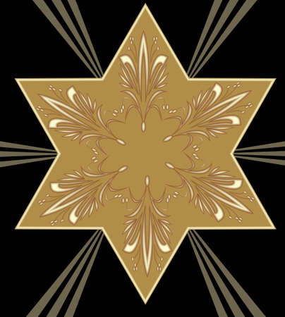 Gold Star of David with embossed ancient ornament on a black background with gold rays. The main religious symbol of Judaism.