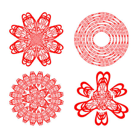 Set of four decorative doodle patterns in red color, circural vintage ornament. Textile ornament elements, wrapping paper print, color is easy to change.