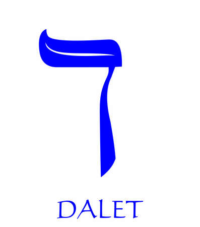 Hebrew alphabet - letter dalet, gematria door symbol, numeric value 4, blue font decorated with white wavy line, the national colors of Israel