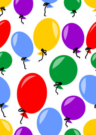 colored inflatable balloons on a white background. Seamless background, pattern for childrens textiles, wrapping paper