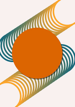 Abstract patterns composed of circles in harmonic muted colors on white background. Orange and dark green design. Minimalist background with copy-space. 2d geometric primitives