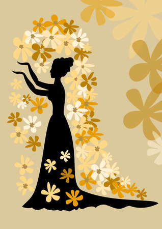 Black silhouette of lady with bun in gown with siding. Lady with her arms folded against on golden background is surrounded by simple flowers in different shades of gold. Victorian vintage theme