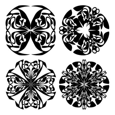Set of four decorative doodle patterns in monochrome design, circural vintage ornament. Textile ornament elements, wrapping paper print, color is easy to change. Ilustracja