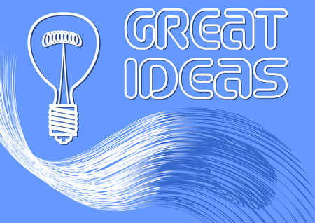 Great ideas billboard, banner with a bulb and wavy abstract shape with lightning effect, white line drawing on blue background. Presentation slide.