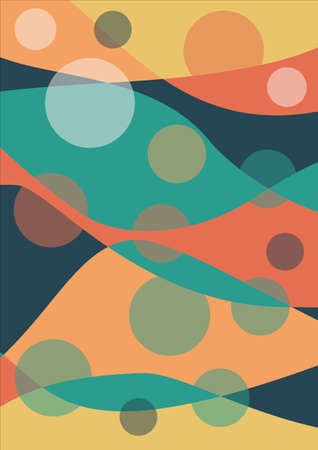 bedsheet design overlapping waves in warm colors red, red, orange, supplemented with green and blue, surreal design using 2d primitives Ilustracja