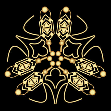 Luxury abstract gold relief ornament on black background. Art deco motif, geometric patterns