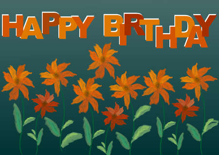 Happy brithday abstract background with flowers, drawing technique of watercolor. Orange inscription and orange flowers on a dark green background.