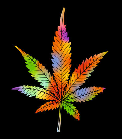 Psychedelic-colored leaf of cannabis on a black background. Vivid rainbow colors in randomly distributed splashes, marihuana