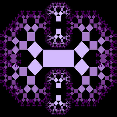 Fractal Pythagoras tree patterns, purple ornament composed of small decreasing squares on black background,
