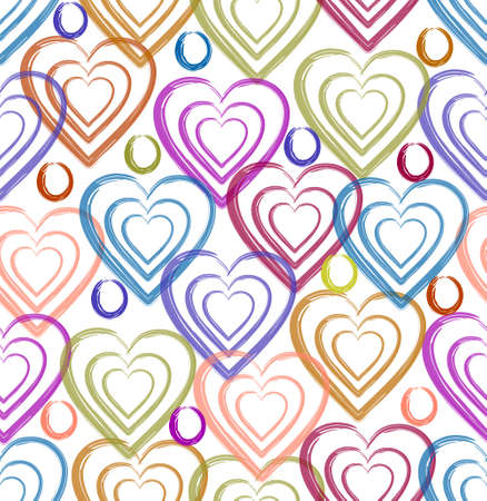 Fine spring pattern of hearts in pastel colors on a white background, watercolor technique, suitable for home textiles, bedding, curtains, abstract seamless background