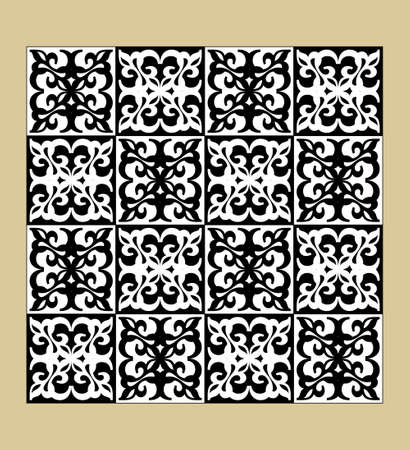 Black and white vintage pattern, fine geometric motifs, checkerboard design, inverted colors, tileable ornament