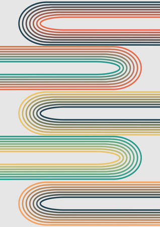 Minimalist abstract background made up of line pattern in retro nostalgic colors Ilustracja