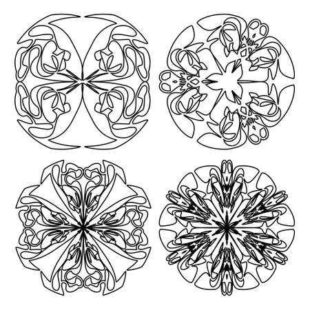 Round symmetric doodle lace ornaments, set of four decorative doodle patterns in black and white design, circle vintage ornament. Textile patterns elements, wrapping paper print.