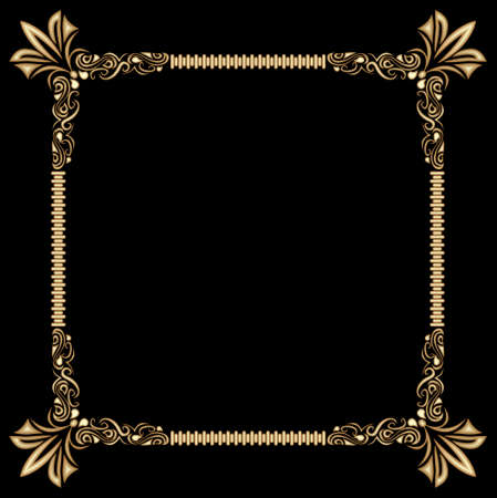 Decorative gold frame on black background. Baroque relief pattern. Space for custom text, such as announcement, invitation. Elegant luxury design. Richly decorated corners of the frame. Zdjęcie Seryjne - 163705807