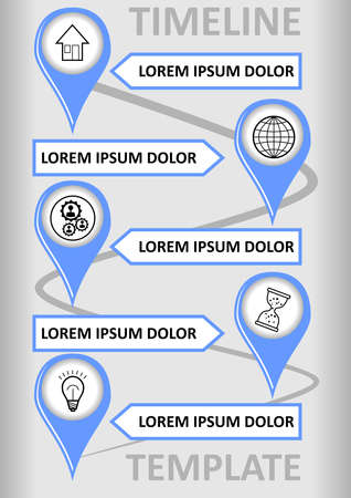 Modern infographic timeline template with place markers on the wavy path, text boxes for custom captions. Modern simple design, blue marks on the background with light gray gradient.