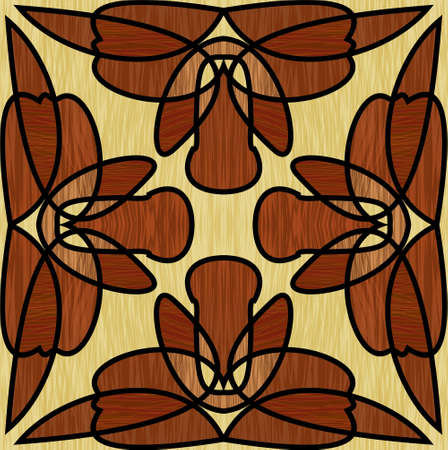 Wooden inlay, ornament made of multicolored wood. square tile. Interior decorative element, furniture decoration, parquet flooring.