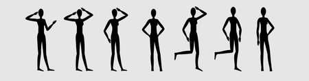 Silhouette of a female figure in different poses, set 2, standing figure , different positions of legs and arms, manequin suitable for clothing designs Ilustracja
