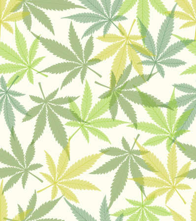 Cannabis leaves in different green shades on white background, fine colored natural inspired design, seamless textile printing, fabric design