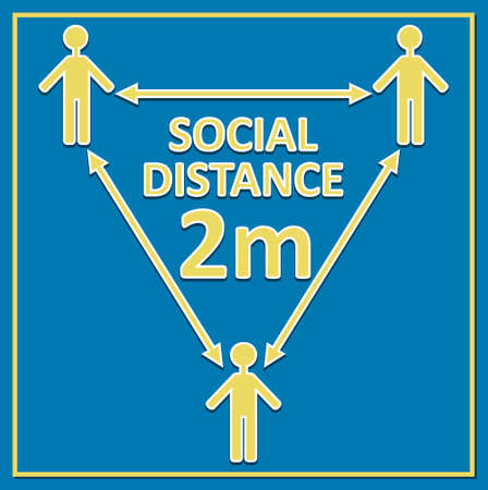 social distance 2m label with figures and arrows, yellow drawing on blue background, triangle composition