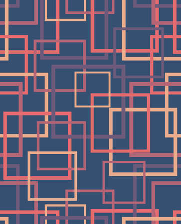 bedsheet design with a motif of overlapping squares in warm colors yellow, orange and purple, surreal design on kerosene blue background.