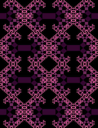 Fractal-inspired background, fractal type Pythagoras tree, shrinking squares connected by their corners, purple patterns on black background Ilustracja