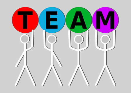Line art human characters holding letters TEAM. Soft skills presentation intro, team building, team work, team education. Significant pictogram in vivid colors on black background,