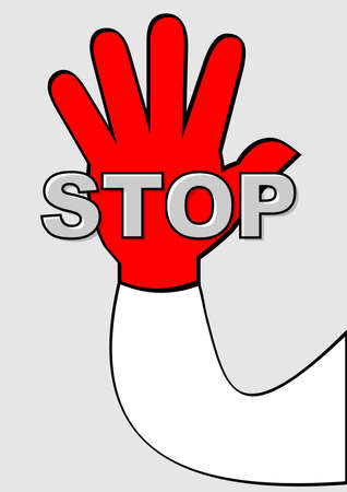 stop pictogram with red palm on light gray background. Hand gesture with lettering. Significant pictogram, internationally understandable symbol Ilustracja