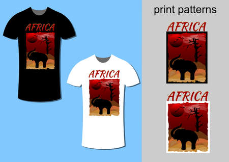 T-shirt design with Africa dessert theme, modified for printing on white or black t-shirt, vector fashion design with included print picture Zdjęcie Seryjne - 163933481