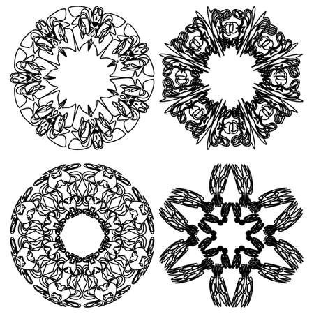 Traditional round doodle lace ornaments, set of four decorative doodle patterns in black and white design, round vintage ornament. Textile ornament elements, wrapping paper print. Ilustracja