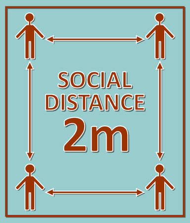 social distance 2m label with figures and arrows, red pictogram on blue background, square composition Ilustracja