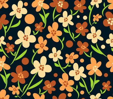 retro flourish seamless patterns in brown, beige and orange design with green stems, black background, 70s and 80s retro, hipster design, nostalgic ornament Zdjęcie Seryjne - 164500648
