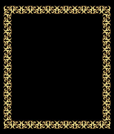 Fine brass square frame in art deco style with 3d effect. Antique gold frame, circular frame on a black background. Ilustracja