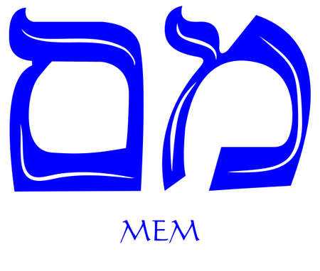 Hebrew alphabet - letter mem, gematria water symbol, numeric value 40, blue font decorated with white wavy line, the national colors of Israel Ilustracja