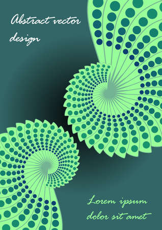 Two pea green spiral abstract shapes resembling a snail shell on a dark green background, space for your own text, sample text Lorem ipsum, minimalist surrealist graphics
