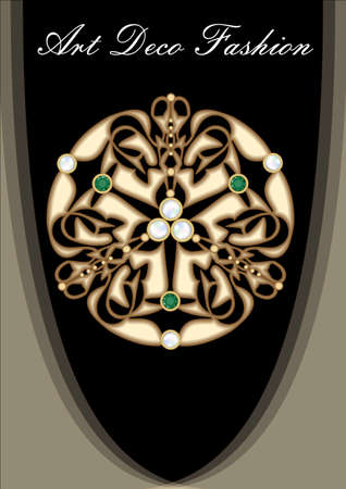 Art deco gold brooch with pearls and green emeralds. Richly decorated ancient jewel. Circular gold metal jewelry.