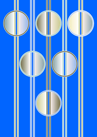 Futuristic surreal background with vertical stripes and metallic circular elements. Circle divided by a vertical stripe into two parts. Silver pattern on a distinctly blue background.