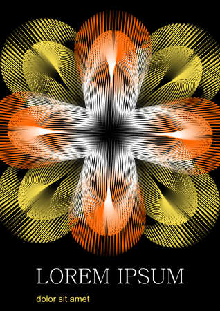 Fantastic flower formed by yellow and orange rays, the flower contrasts on a black background. At the bottom of the area space for custom text, sample text Lorem ipsum. Ilustracja