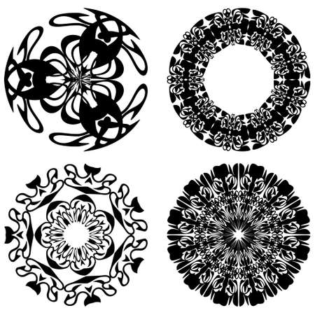 Set of four decorative doodle patterns in monochrome design, round vintage ornament. Textile ornament elements, wrapping paper print, color is easy to change. Ilustracja