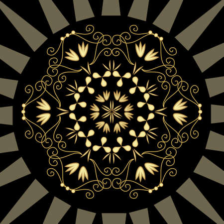 Luxurious abstract gold relief ornament on black background. geometric patterns, Art deco motif with 3d effect