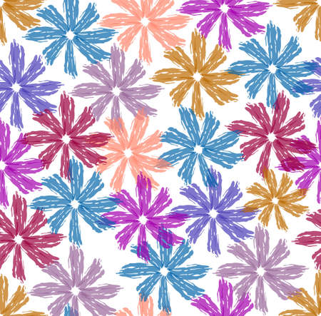 Beautiful spring design from flowers drawn with water colors on a white background, seamless pattern, design for home textiles, bed linen, bedding, curtains