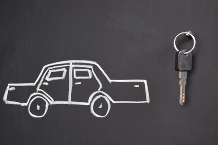 sketch of car and real keys on the blackboard Stock Photo - 7235673