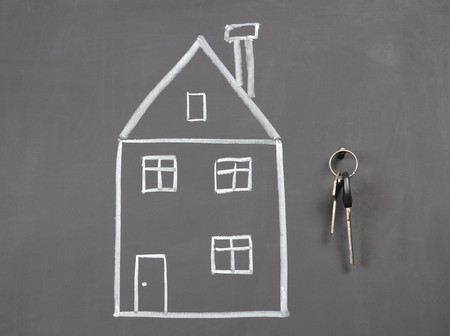 sketch of house on the blackboard photo