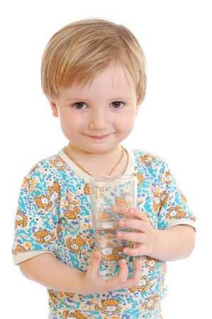 little attractive boy with the glass of water photo