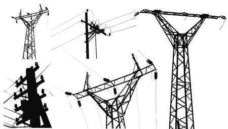 torres el�ctricas: De electricidad de alta tensi�n bipolares Vectores