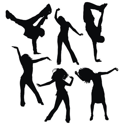 exaltation: dancing people silhouettes
