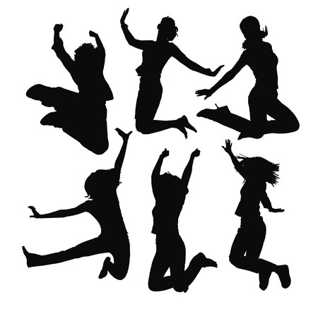 jumping people silhouettes Stock Vector - 5464230