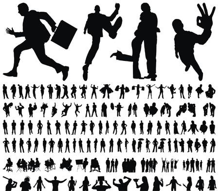 énorme collection de gens excellents qualité tracées silhouettes illustration vectorielle