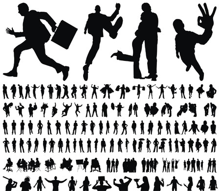 business jump: huge collection of excellent high quality traced people silhouettes vector illustration