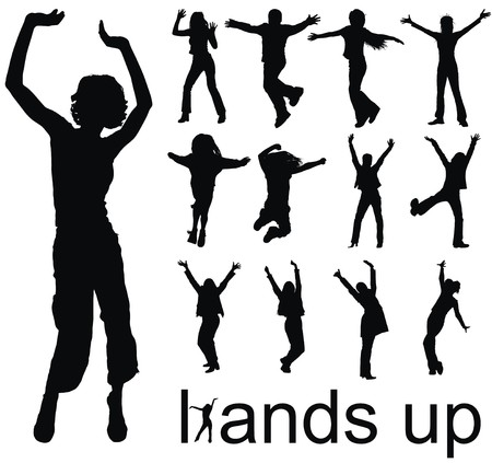 reach: high quality traced hands up people silhouettes vector illustration